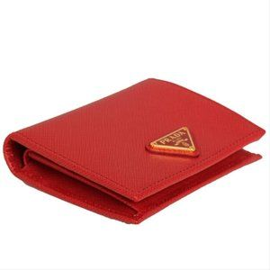 Prada Bags - New Prada Red Saffiano Leather Small Bifold Wallet